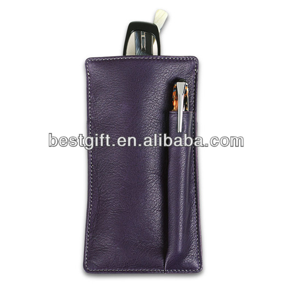 New Design leather eyeglasses bag/cell phone pouch