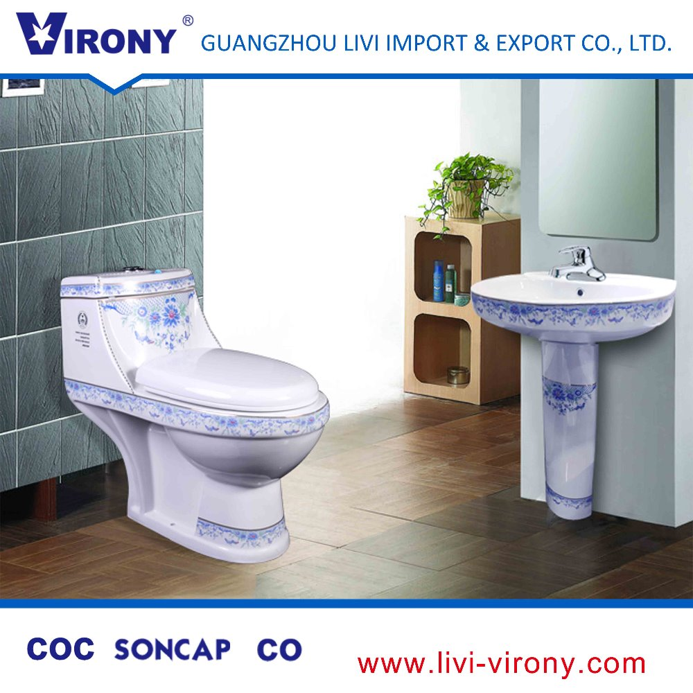 Ceramic houseware Close-couched washdown one piece Toilet for restroom