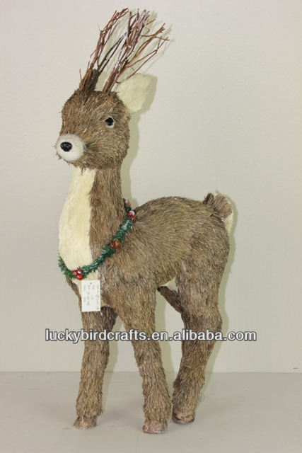 2014 newest production Christmas straw deer/reindeer ornaments with wreath