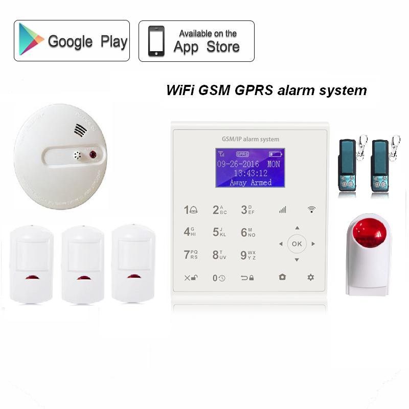 LCD disply 850/900/1800/1900mhz App push home security alarm system wifi/gprs/<strong>gsm</strong> smart