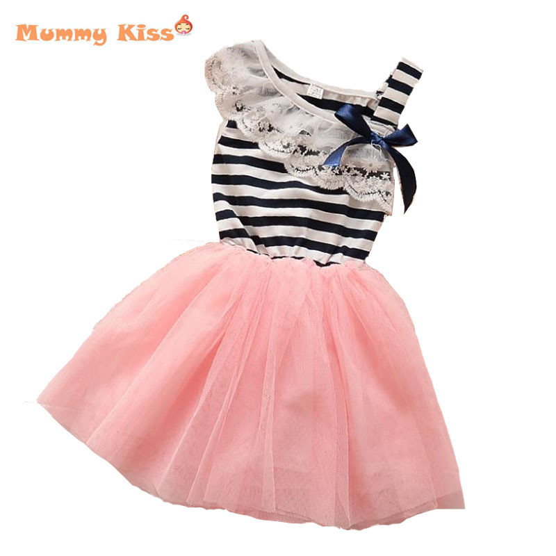 2015 Korean Girls Princess Dresses Children Summer Style Clothing Kids Clothes Sleeveless Lace Stripe Baby Girl Dresses 10