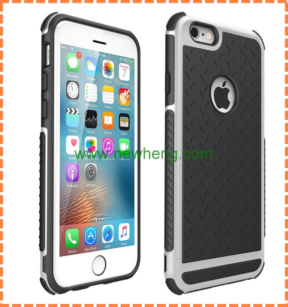 shockproof carbon fiber pc+tpu cell phone case for iphone 6 6 plus