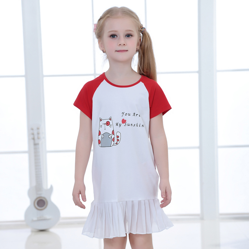 Boutique child summer clothes short sleeve kids pleated dresses new model girl dress