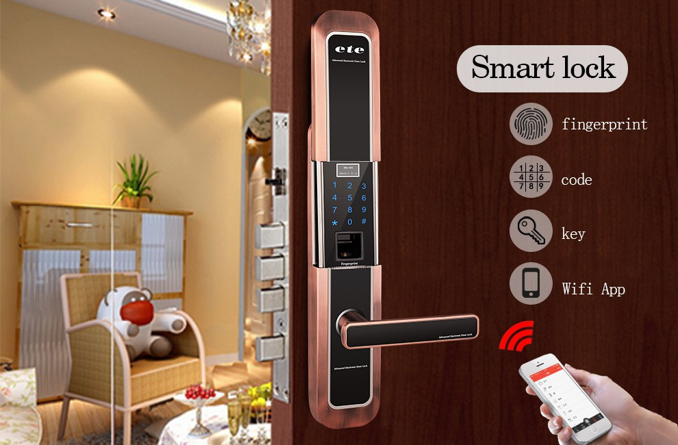 wifi ETE burglar-proof padlock hidden keypad Entry Door Lock digital handle door lock industrial electric finger print door lock