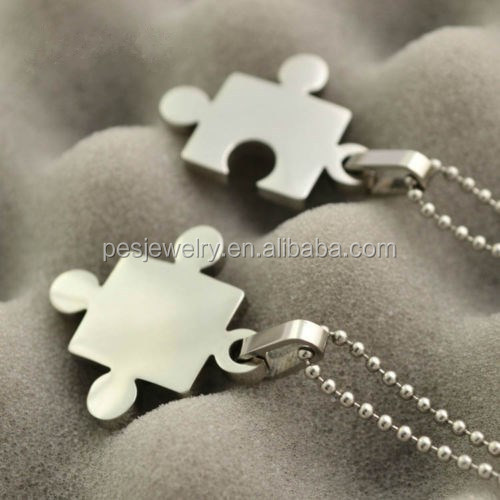 PES Hot jewelry!2016 DIY Original Men Women Couples Jewelry Pendant Creative Puzzle Necklace(PES3-924)