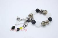 Thunder Beads Fashion Bracelet White Jelly Hanging Black Glass Beads Bangles&Bracelets For 2016New Intrend style