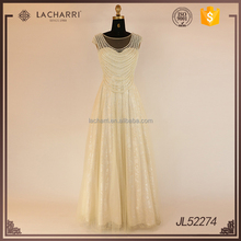Cap Sleeve Latest Gown Designs Lace Long Gown with Beading String