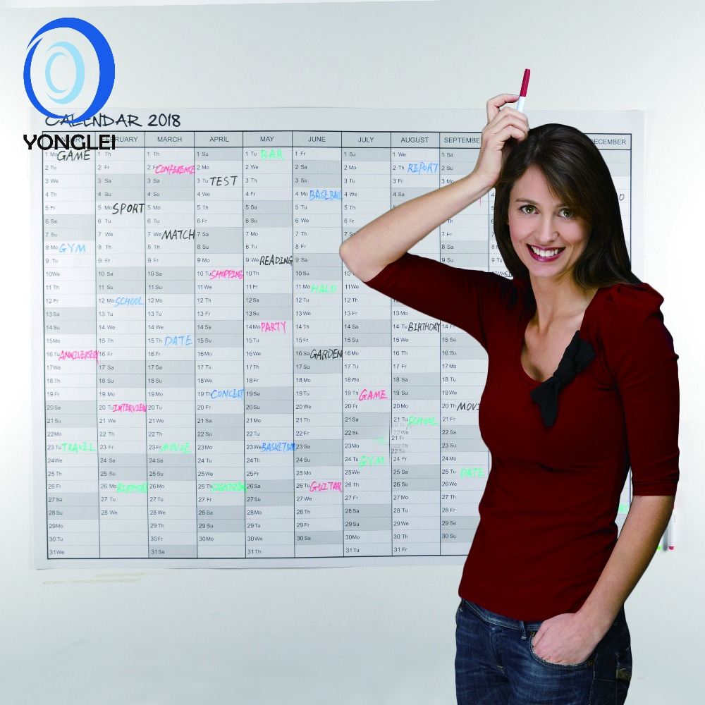 "48""X36"" wet and dry erasable day planner 365 day calendar wall calendar 2018/2019 YLWC007-01"