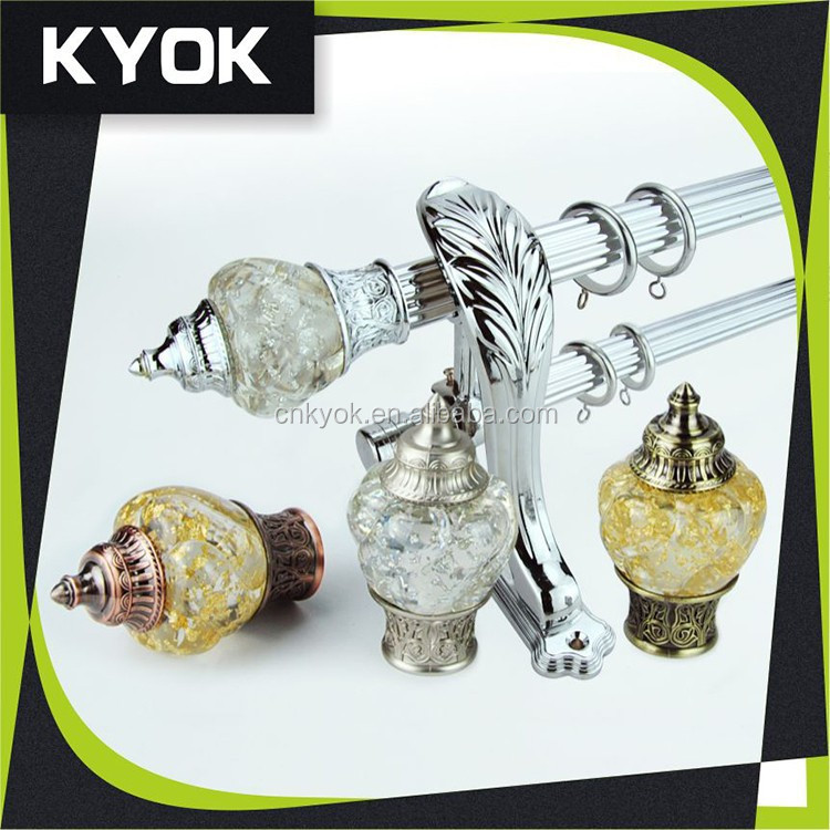 Latest good quality home decor chrome curtain finials, fancy resin and iron curtain rod end caps, swivel best sale curtain fit