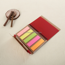 kraft cover metal spiral notebook with sticky note and pen