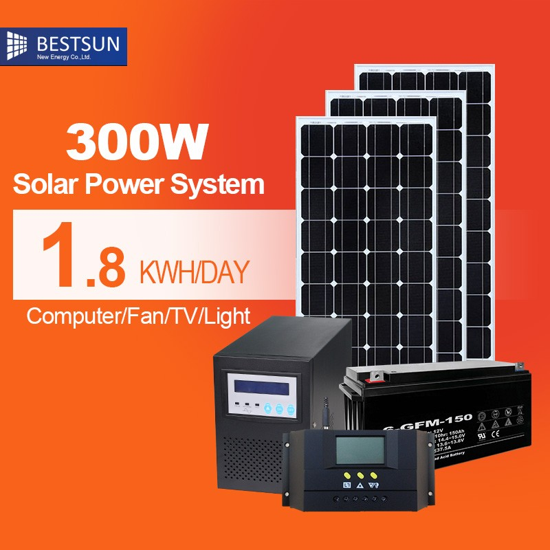 Best sun off grid 300w home solar panel system with standard configuration