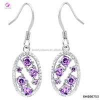 18K White Gold Plated 925 Sterling Silver Open Oval Purple Crystals Drop Earrings