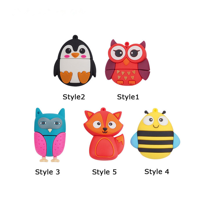 New Style Cute Bee Penguin Fox Usb 2.0 Usb Flash Drive 4GB 8GB Flash Card16GB 32GB 64GB Fox Pendrives Real Capacity Memory Stick