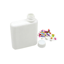 280g HDPE empty square flat medicine plastic pill bottle for capsule