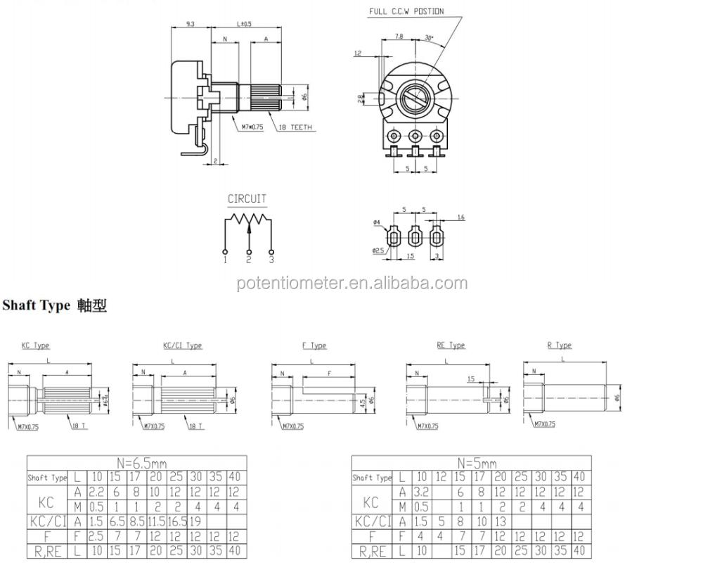 100K ohm Single Mono Log Logarithmic Lin Linear Switch Pot Potentiometer Knob