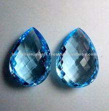 Sky Blue Topaz Pear Shape Checkerboard Facet Cut Loose Gemstone, Natural Loose Gemstone