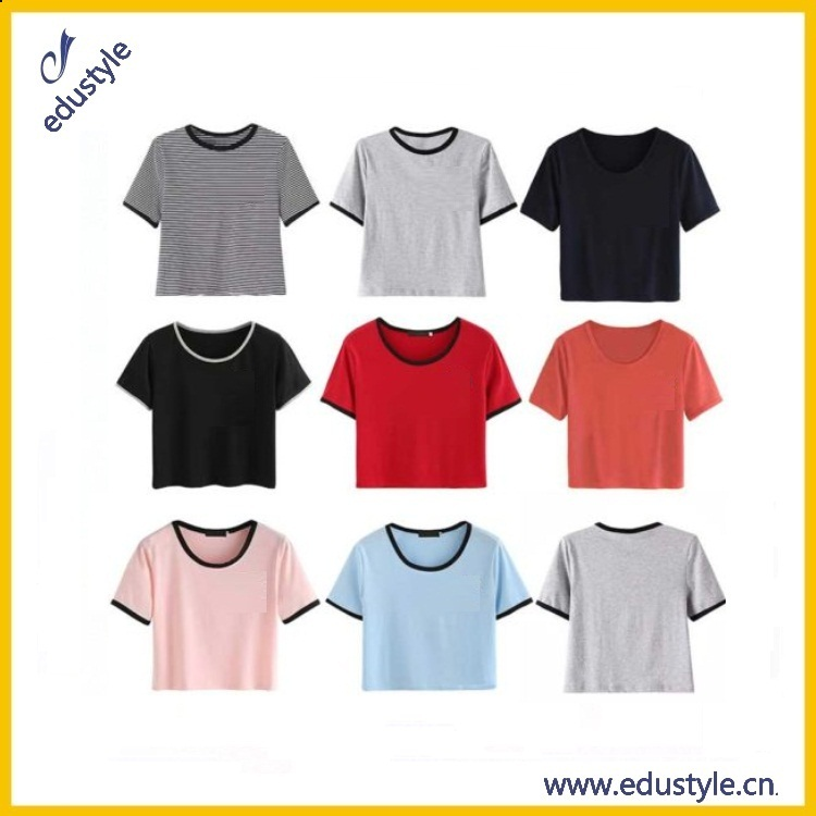 Cheap Bulk Blank Cotton Plain Crop Tops Wholesale For Ladies
