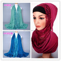 Wholesale new designs 20 colors lace solid cotton long shawls muslim hijab head scarves/scarf GBS141