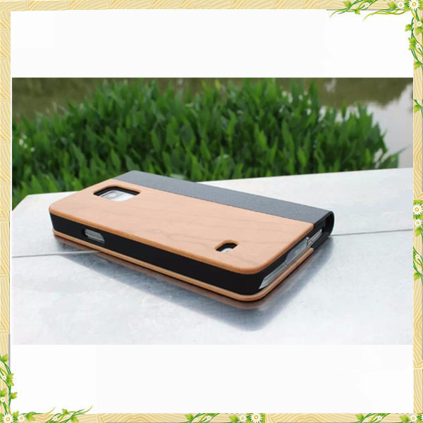 Hot sale genuine leather wooden phone case for samsung galaxy S5