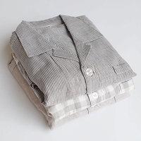 DM 655 Wholesale classical simple homewear ventilate summer grey Loungewear set cotton lovers plaid stripe mens sleepwear