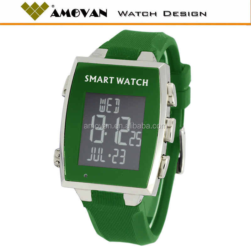 water resistant 3ATM, silicone strap, OEM your logo sharp lcd display smart watch