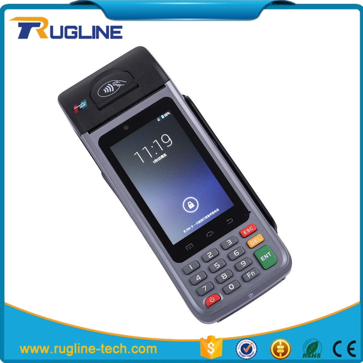 Famous MasterCard and VISA bus conductors ticket machine with 58mm thermal printer