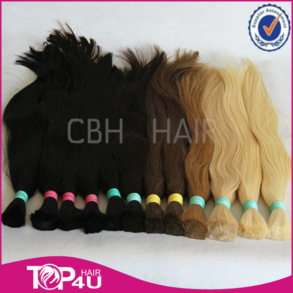 Hot sale full cuticle remy Brazilian hair bulk 7A Grade thick bulk hair dye color
