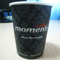 8oz hot single wall coffee paper cup with logo sleeve