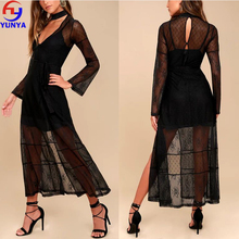 Hot selling starry eyed black lace women long sleeve knit sheer maxi night dress