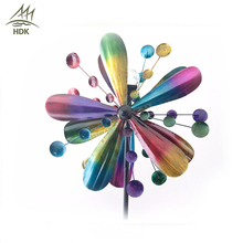 2017 decorative solar powered ornament rainbow color changing wind spinner crackle glass ball light metal garden stake