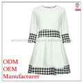 New Arrival good quality beautiful 3/4 sleeve with contrast check design brand dresses