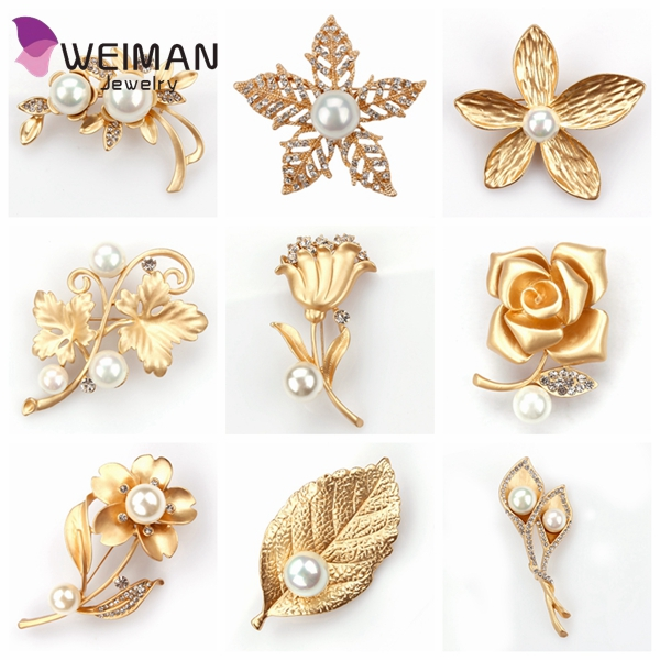Fashion Brooches For Women Jewelry Wholesale Gold Plated Flower Pin Wedding Jewelry