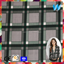 Green check plaid polyester mesh fabric textile fabric price kg