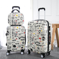 Cartoon printed hard luggage suitcase 3 pieces pc +abs zip trolley bag