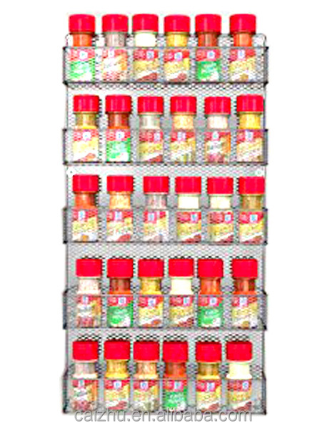 Kitchen Wall Door Mounted Large Capacity 5 Tiers Mesh Spice Rack Shelves Storage Organizer