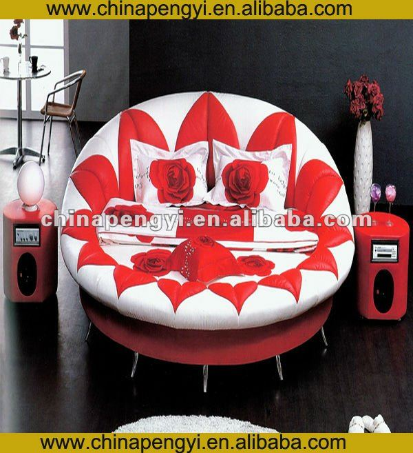 Europe and US hot sale round leather bed frames