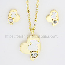 2017 New Design Cute Animal Bear Shape 316l Satinless Steel Jewelry Sets For Women