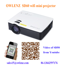 SD60 Cheap mini digital wifi Projector with 1000:1 Contrast Ratio and 1500lumens