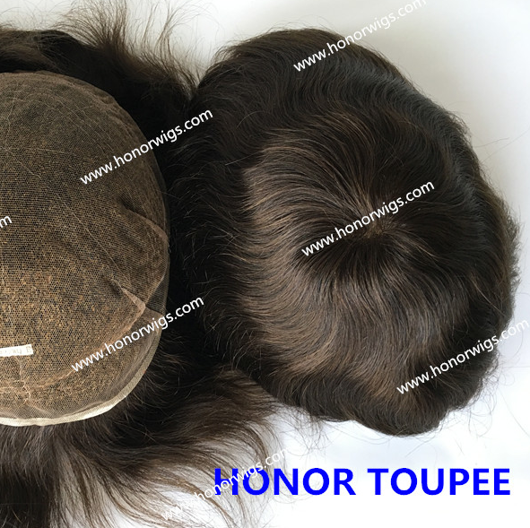 HT417 men's toupee in stock <strong>size</strong> 8&quot;<strong>x10</strong>&quot; fast delivery all swiss lace bleached knots #2 dark brown color NW 100% real hair toupee