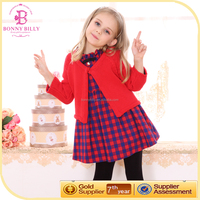 PLAID COTTON FRILLY GIRL DRESS WITH RED CARDIGAN FASHION GIRLS COAT AND DRESSES SET