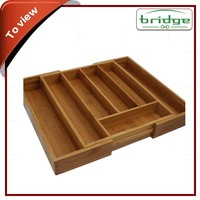 Expandable Silverware Tray Square Bamboo Utensil Holder