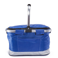 Outdoor 600D Aluminum Frame Insulated Folding Picnic Cooler Shopping Basket Bag