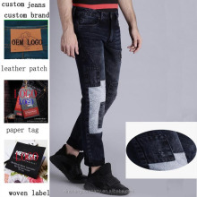 Patch OEM custom men jeans casual wholsale China factory cheap denim black jeans make own <strong>design</strong>