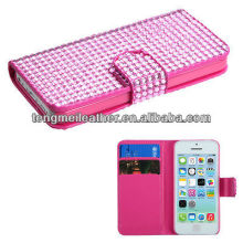 Pink diamond bling flip cover wallet ID pouch case for apple iphone 5C,For iphone 5 screen protector