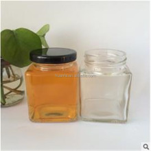 180ml Cheap Clear square honey glass jar with tin cap for Jam, Honey
