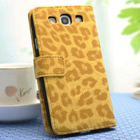 Clear Stock Noble fashion leopard wallet flip case cover for samsung galaxy siii s3 i9300