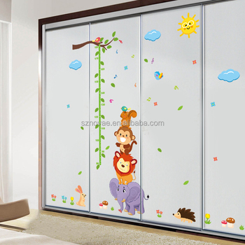 ZY1230 60*90cm Eco-friendly Height Tree Printed Kids Cartoon Wall Sticker
