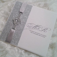 charming shiny silver glitter paper withlove brooch elegant wedding invitations card