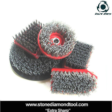 Stone abrasive brush, steel wire brush in shape round square rectangle