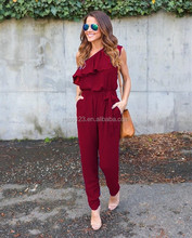 ladies jumpsuit Irregular chiffon fashion rompers jumpsuits women 2017